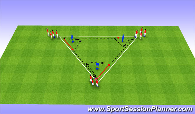 Football/Soccer Session Plan Drill (Colour): Combination Triangle