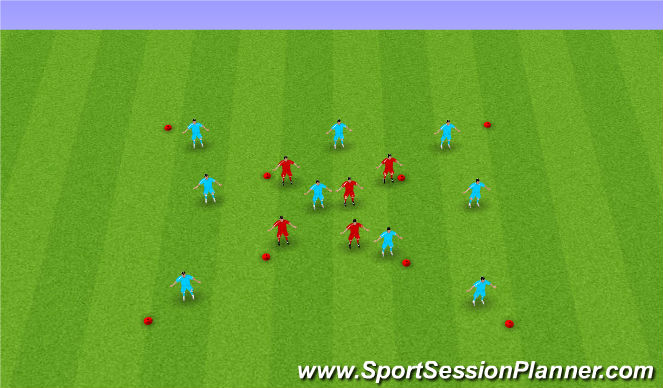 Football/Soccer Session Plan Drill (Colour): 9 vs 5 & 5 vs 2
