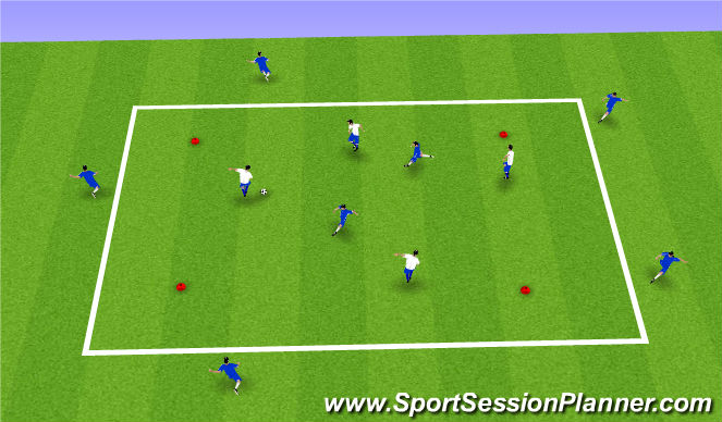 Football/Soccer Session Plan Drill (Colour): 4v2 -7v4