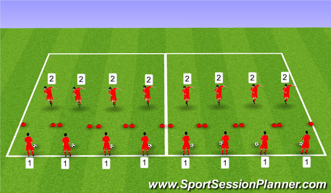 Football/Soccer Session Plan Drill (Colour): Blocked drill - heading