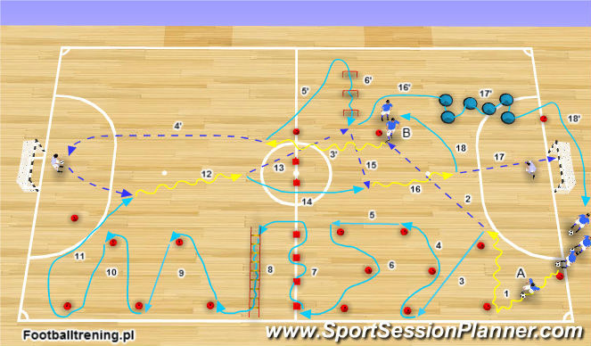 Futsal Session Plan Drill (Colour): Wariant 1