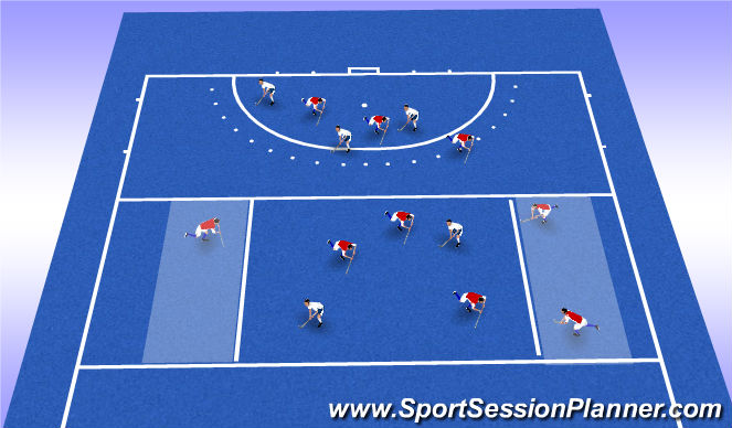 Hockey Session Plan Drill (Colour): Man man and zone shaping