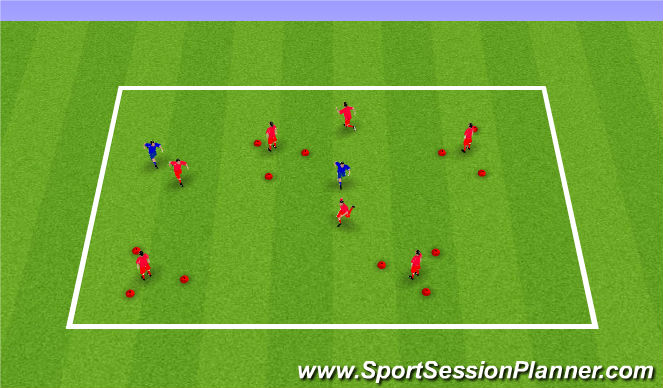 Football/Soccer Session Plan Drill (Colour): Fangen mit Rettungszonen