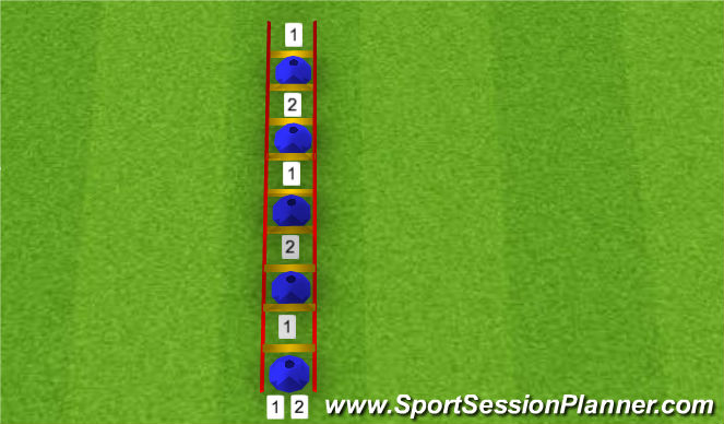 Football/Soccer Session Plan Drill (Colour): HIGH KNEE 1 OVER RUN