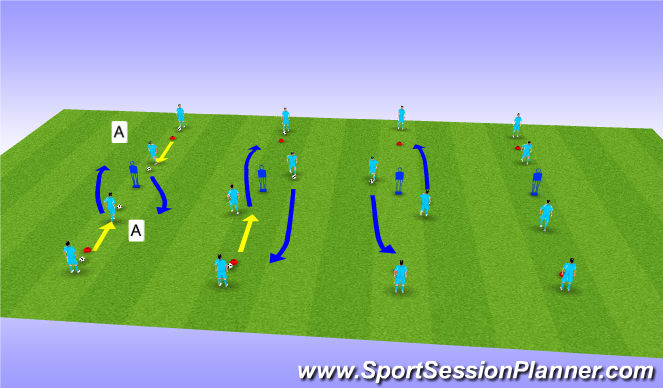 Football/Soccer Session Plan Drill (Colour): Dribbling at Opponant