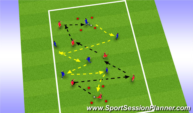 Football/Soccer Session Plan Drill (Colour): Unopposed Possession Practice AJ