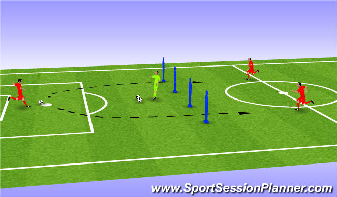 Football/Soccer Session Plan Drill (Colour): distribution to 10s