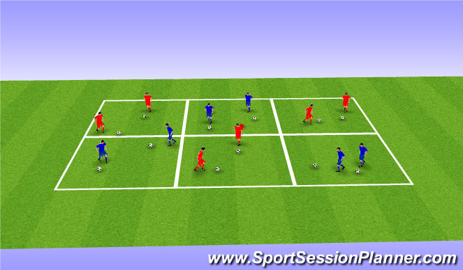 Football/Soccer Session Plan Drill (Colour): Warm-Up: Core Foot Skills