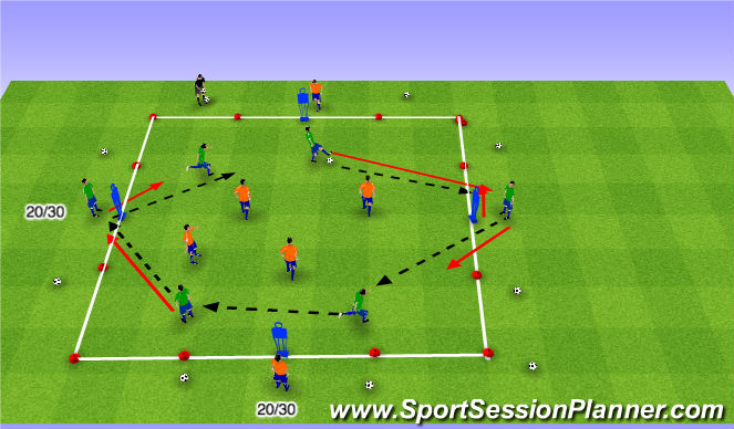 Football/Soccer Session Plan Drill (Colour): Possession/Dribbling Game