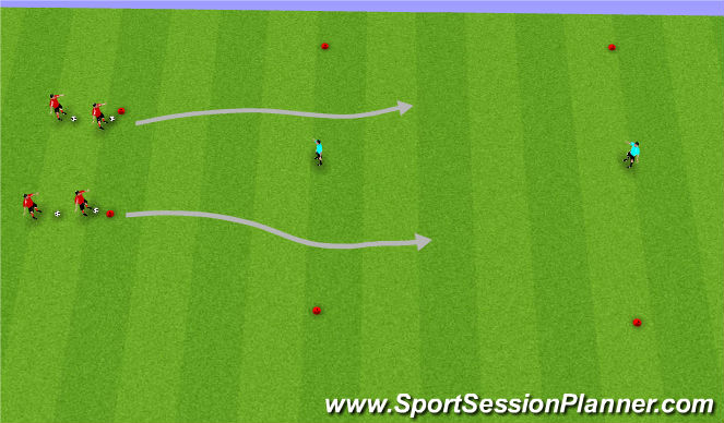 Football/Soccer Session Plan Drill (Colour): Dribbling Jail Game
