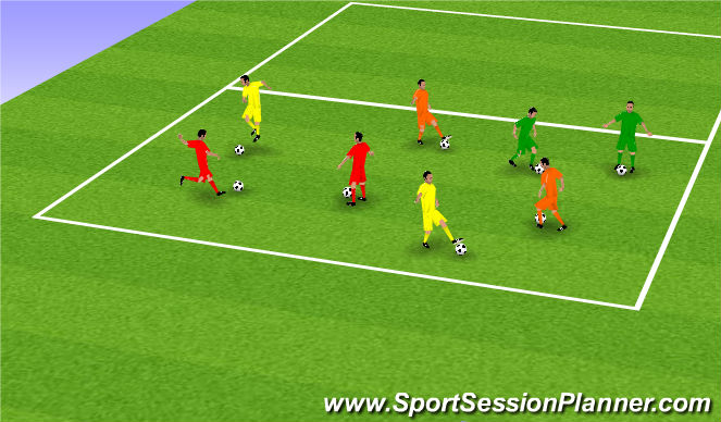 Football/Soccer Session Plan Drill (Colour): Warm Up - Support Play