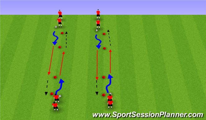 Football/Soccer Session Plan Drill (Colour): Technical Drill- Set Up 2