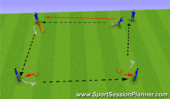 Football/Soccer Session Plan Drill (Colour): Viereckpassen 1
