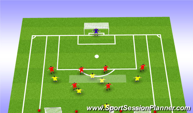 Football/Soccer Session Plan Drill (Colour): 6v6 Zone 14 Phase Play