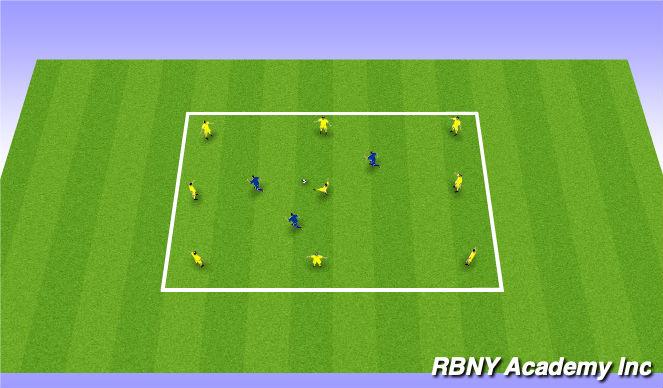Football/Soccer Session Plan Drill (Colour): 3 Defender Rondo