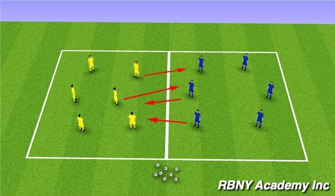 Football/Soccer Session Plan Drill (Colour): 2 Team Passing