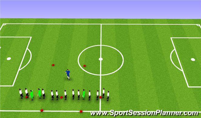 Football/Soccer Session Plan Drill (Colour): Warm Up / Dynamic