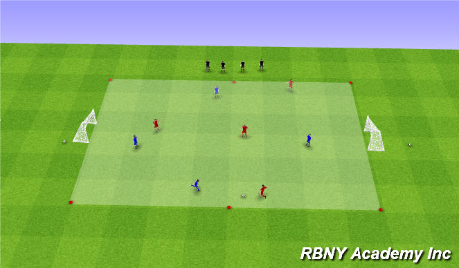 Football/Soccer Session Plan Drill (Colour): Scrimmage as the players arrive