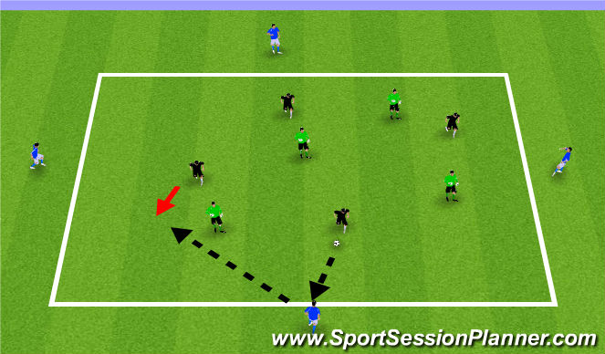 Football/Soccer Session Plan Drill (Colour): 4v4+4 Combination Game