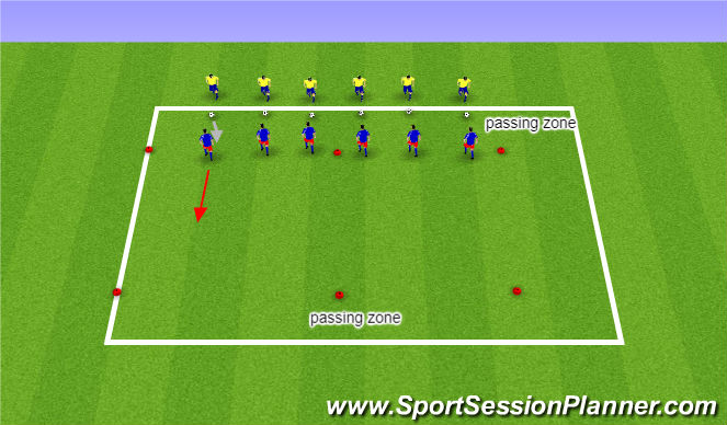 Football/Soccer Session Plan Drill (Colour): Warm-up: Defensive Technique