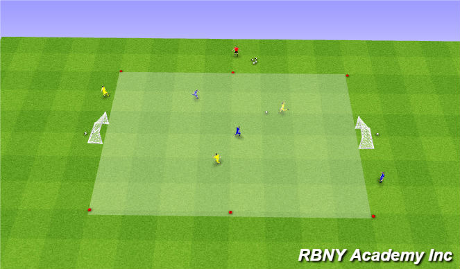 Football/Soccer Session Plan Drill (Colour): Condition Game - 2v2 target players