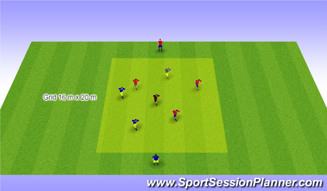 Football/Soccer Session Plan Drill (Colour): 3 v 3 + 1 Centrally