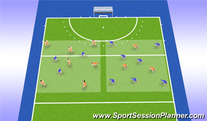 Hockey Session Plan Drill (Colour): Explore Rondo