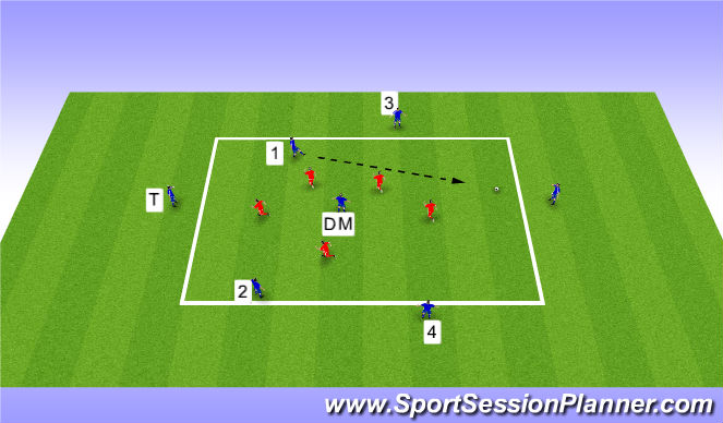 Football/Soccer Session Plan Drill (Colour): 7v5