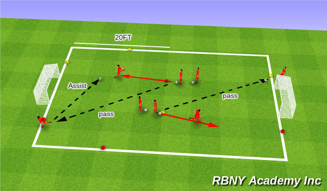 Football/Soccer Session Plan Drill (Colour): Finishing Warm-up