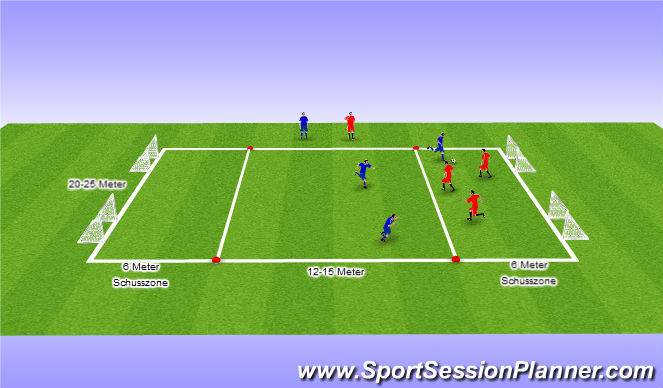 Football/Soccer Session Plan Drill (Colour): 3 gegen 3 Funinio-