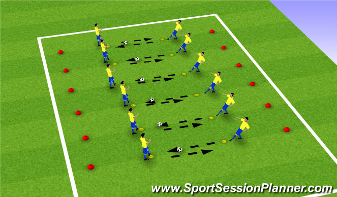 Football/Soccer Session Plan Drill (Colour): Snakes and Ladders