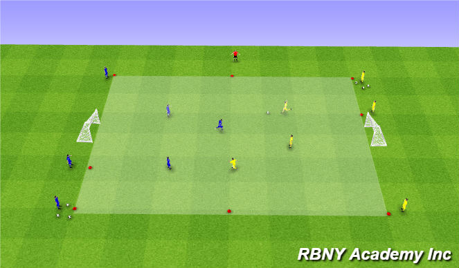 Football/Soccer Session Plan Drill (Colour): Condition - 3v3 Transition