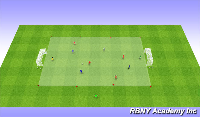 Football/Soccer Session Plan Drill (Colour): Scrimmage - 5v5s