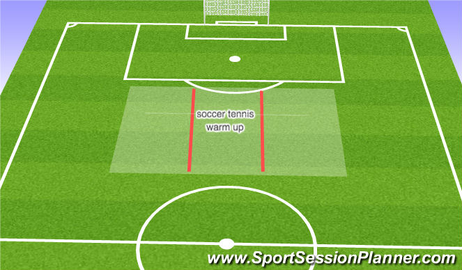 Football/Soccer Session Plan Drill (Colour): Soccer Tennis warm up