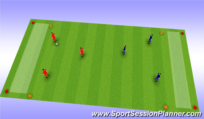 Football/Soccer Session Plan Drill (Colour): 3 v 3 Line Soccer