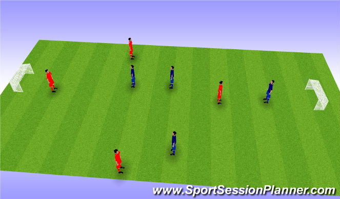 Football/Soccer Session Plan Drill (Colour): 4 v 4