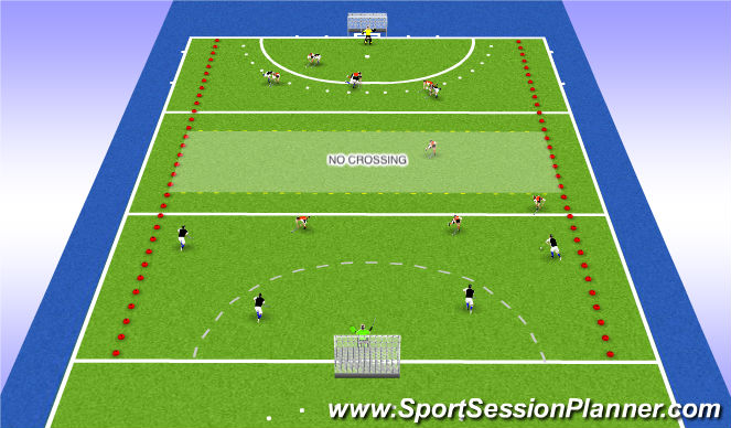 Hockey Session Plan Drill (Colour): Long passing game