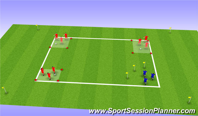 Football/Soccer Session Plan Drill (Colour): 3v1 Possession Endurance Drill