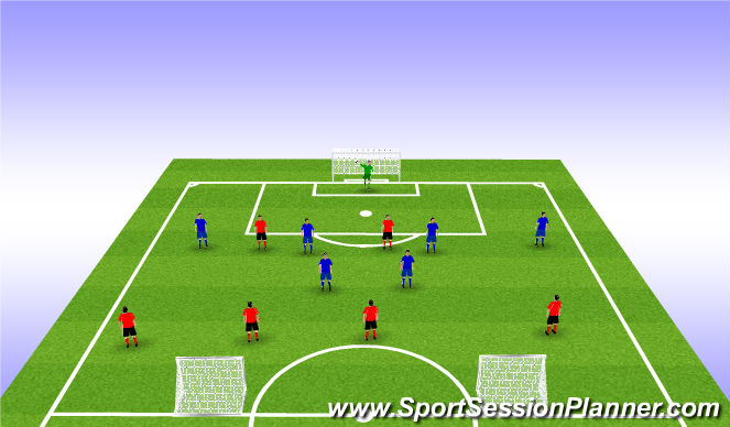 Football/Soccer Session Plan Drill (Colour): Attack v Defence (SSG)
