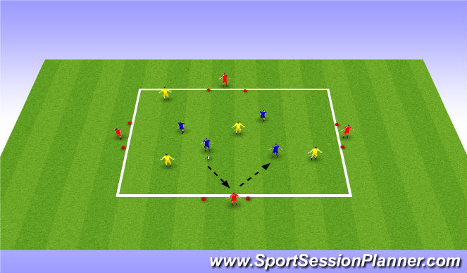 Football/Soccer Session Plan Drill (Colour): Possession game 4 v 4 + 4 in goals