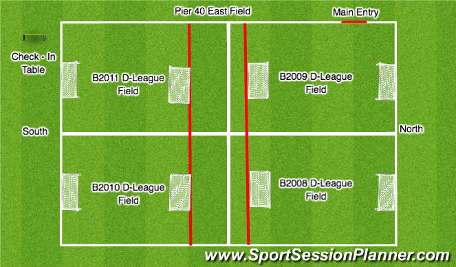 Football/Soccer Session Plan Drill (Colour): D-League - Tryouts - Field Layout