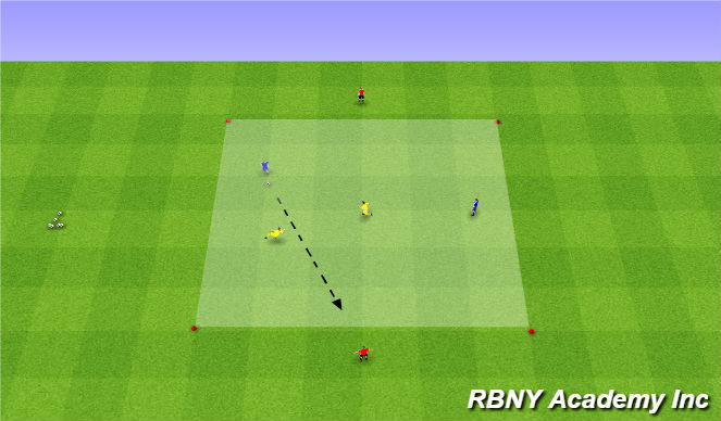 Football/Soccer Session Plan Drill (Colour): Main - 2v2+2