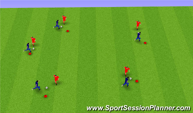 Football/Soccer Session Plan Drill (Colour): Penny Drop Warm Up