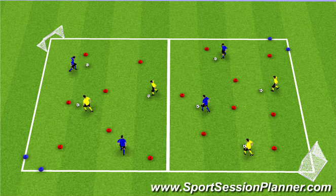 Football/Soccer Session Plan Drill (Colour): Scattered to Goals