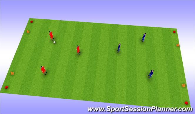 Football/Soccer Session Plan Drill (Colour): 3 v 3 Gate Soccer