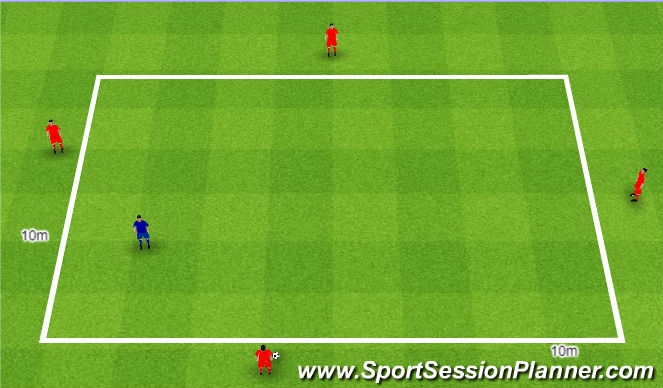 Football/Soccer Session Plan Drill (Colour): Rondo 4v1. Dziadek 4v1.