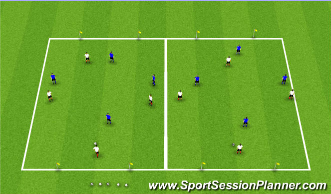Football/Soccer Session Plan Drill (Colour): 4v4/3v3