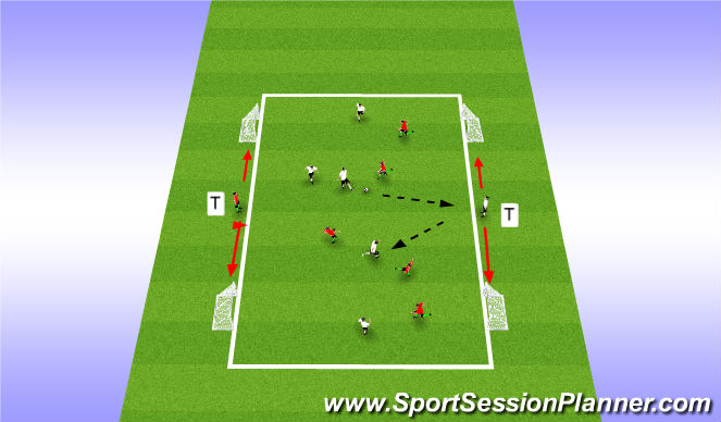 Football/Soccer Session Plan Drill (Colour): 5 v 5 plus Target