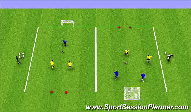 Football/Soccer Session Plan Drill (Colour): Up to 3v3