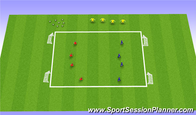 Football/Soccer Session Plan Drill (Colour): 4v4 Defending as a unit (+4)